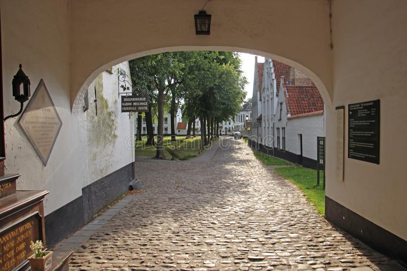 Beguinage Houses in Bruges, Belgium stock photo