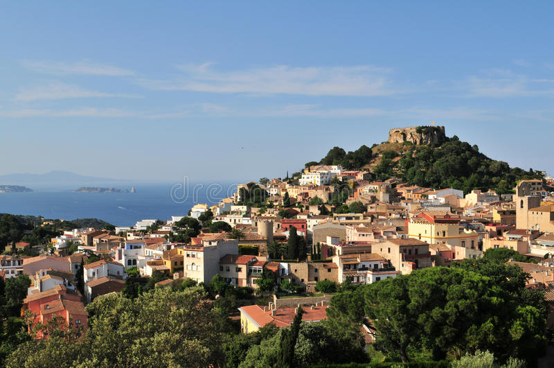 Begur view - Costa Brava. Begur with Castle, a typical Spanish town in Catalonia, Spain royalty free stock photo
