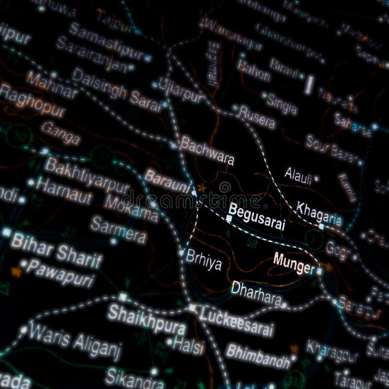 Begusarai-staden i Indien som visar på en geografisk platskarta arkivfoton