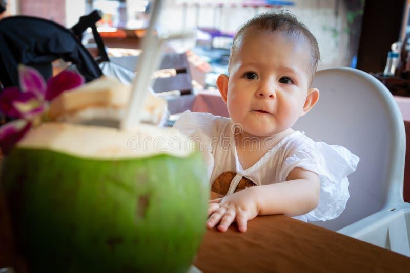 Begynnande flicka som sitter på tabellen och ser på den unga kokosnöten med ris Hon önskar att försöka verklig mat arkivfoto