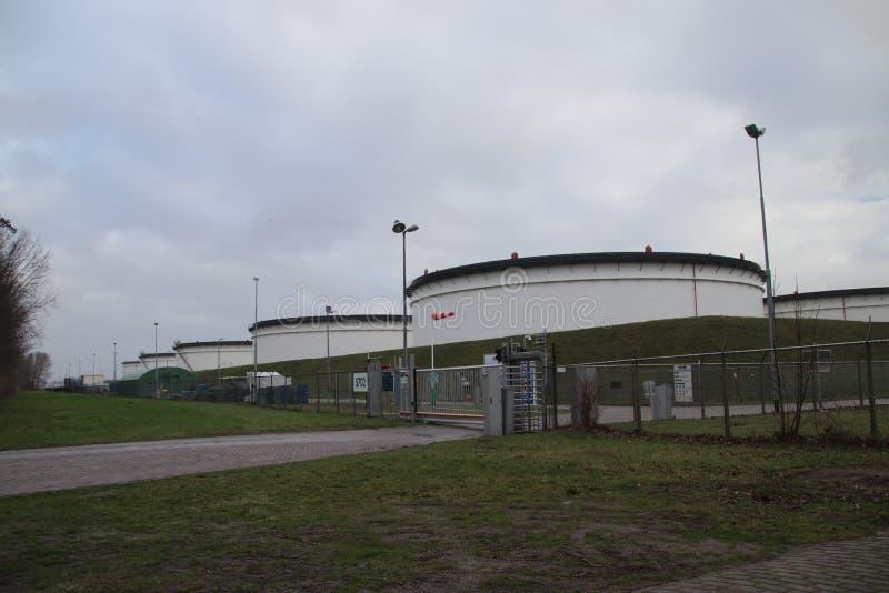 Behälter in Folge an einem groben Speicheranschluß von Vopak im Botlek-harber im Hafen von Rotterdam, lizenzfreie stockfotos