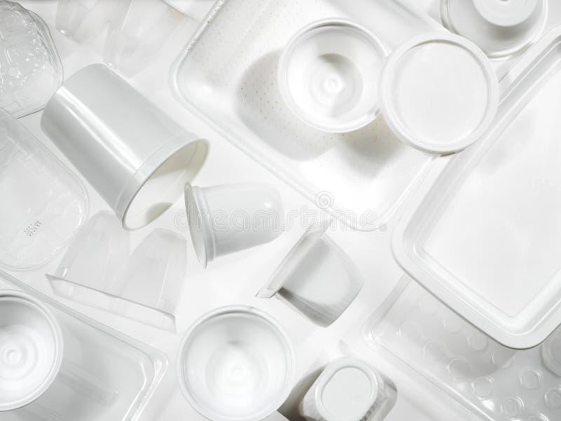 Behälter des Plastiks und des Polystyrens stockfotos