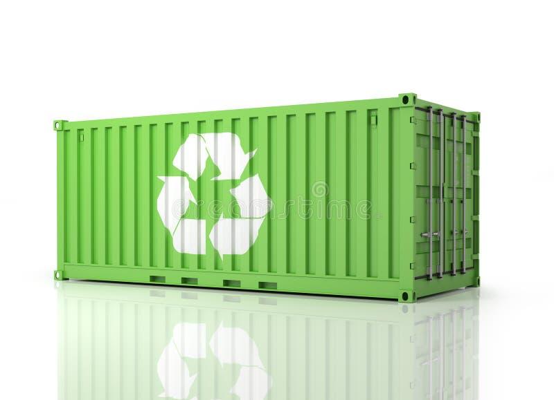 Behälter Eco Perspektivenansicht eines grünen Container stock abbildung