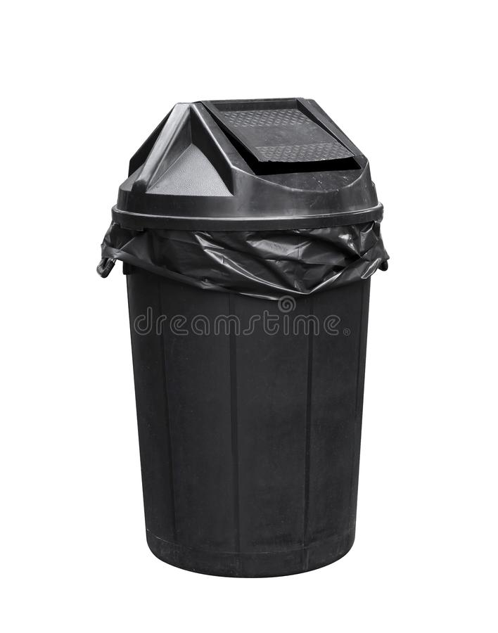 Behälter für Abfall, schwarzer Plastikabfall, Abfall, Krambehälter für bereiten auf stockfoto