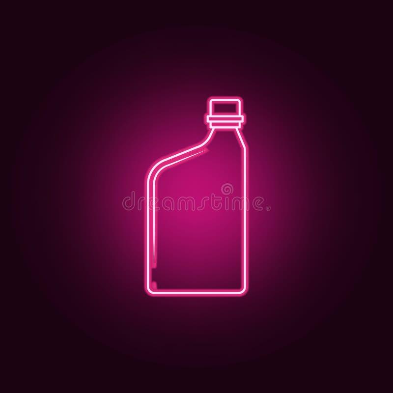Behälter für Motorenölikone Elemente der Flasche in den Neonartikonen Einfache Ikone für Website, Webdesign, mobiler App, Informa lizenzfreie abbildung