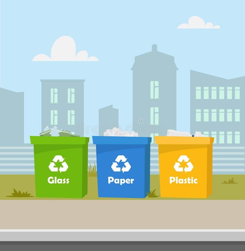 Behälter mit Abfall Wiederverwertung und Abfall sortierend Stadtlandschaft auf Hintergrund Blaue, grüne, gelbe Abfalleimer mit de lizenzfreie abbildung