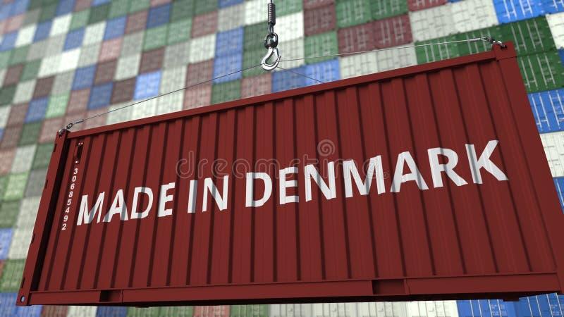 Behälter mit GEMACHT IN DÄNEMARK-Titel Dänische in Verbindung stehende Wiedergabe 3D des Importes oder des Exports vektor abbildung