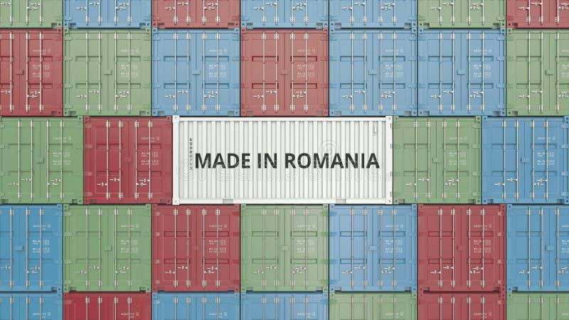 Behälter mit GEMACHT IN RUMÄNIEN-Text Rumänische in Verbindung stehende Wiedergabe 3D des Importes oder des Exports lizenzfreie abbildung