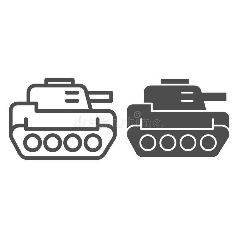 Behälterlinie und Glyphikone Panzer-Vektorillustration lokalisiert auf Weiß Rüstungsentwurfs-Artentwurf, bestimmt für Netz und stock abbildung