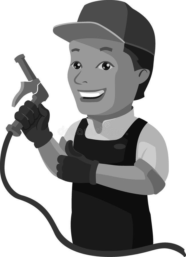 Behändig reparationsman eller underhållsexpert av luftkonditioneringsapparater royaltyfri illustrationer
