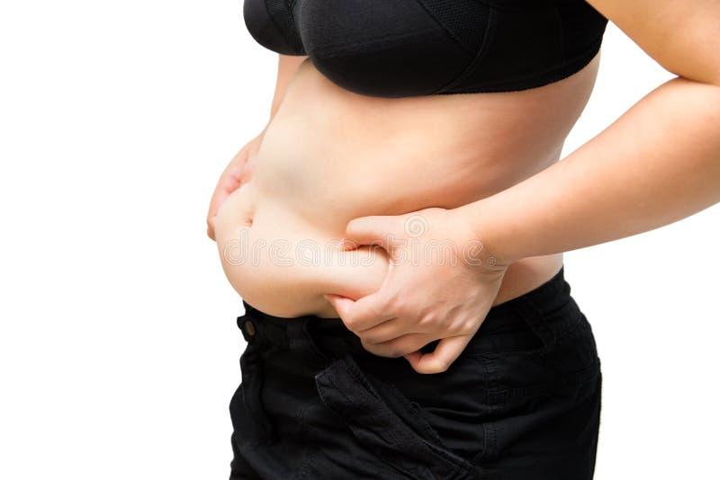 Behå för underkläder för fet kvinnaåtstramningbuk sjukligt fet bärande svart och PA arkivbild
