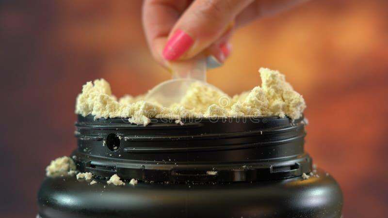 Behållare av näringsrikt pulver för tilläggvasslaprotein royaltyfri bild