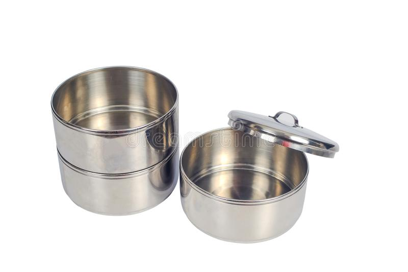 Behållare för rostfritt stålmatbärare eller tiffinmatpå vit arkivbild