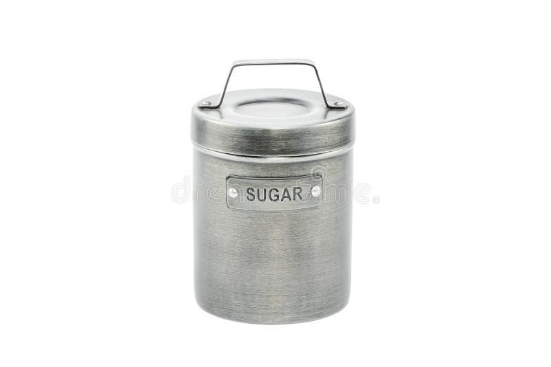 Behållare för socker på vit royaltyfri foto