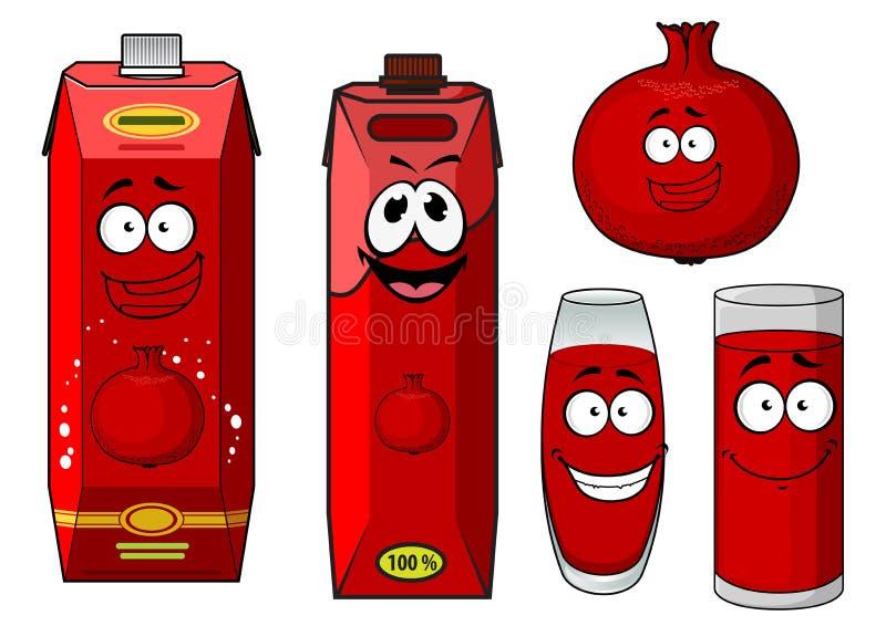 Behållare och frukt för tecknad filmgranatäpplefruktsaft royaltyfri illustrationer