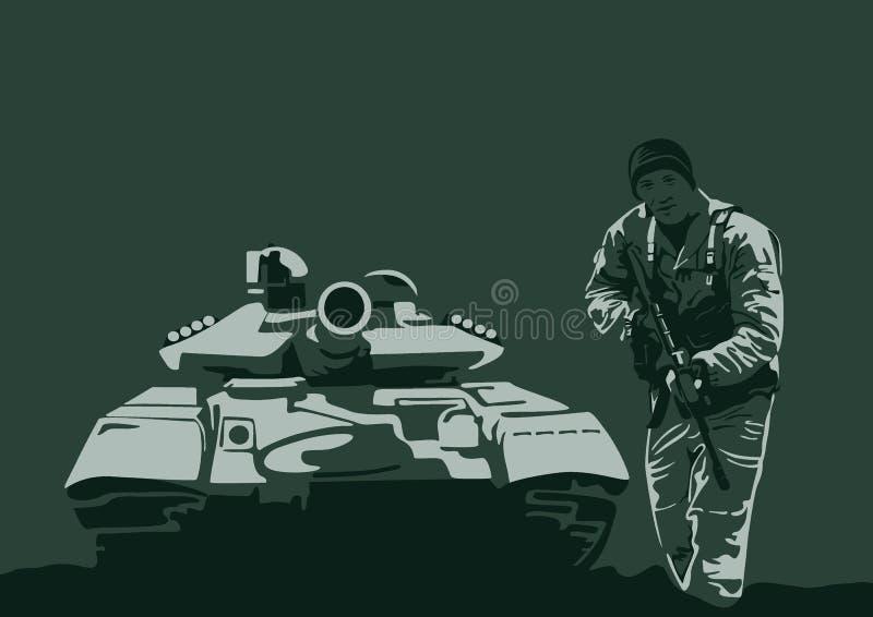 Behållare och soldat med armar vektor illustrationer