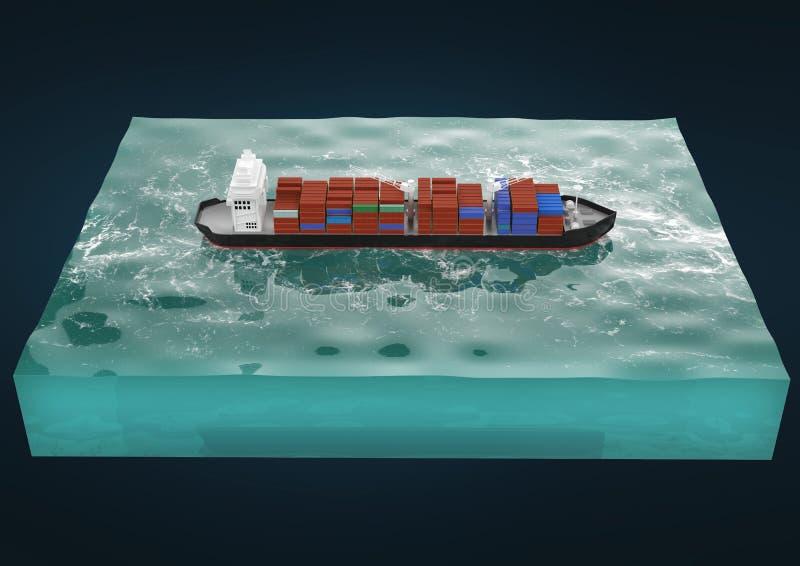 behållarelastfartyg på avsnitt av havet, vattenvagnen och den maritima transporen royaltyfri illustrationer