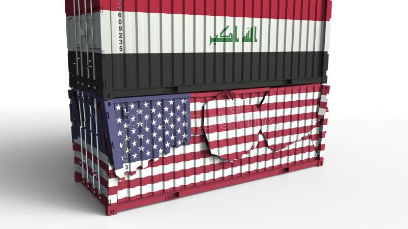 Behållaren med flaggan av Irak bryter lastbehållaren med flaggan av Förenta staterna Handla kriget eller den ekonomiska konflikte royaltyfri illustrationer