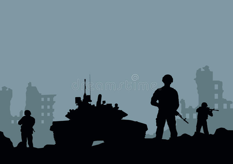 behållaren, soldaterna och förstörelsen av th stock illustrationer
