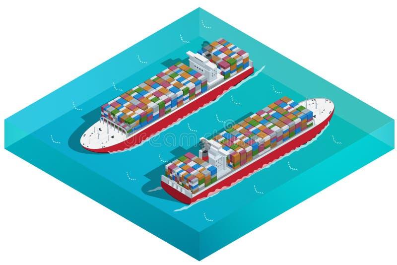 Behållareskepp, tankfartyg eller lastfartyg med behållaresymbolen Plan isometrisk högkvalitativ transport 3d Planlagda medel stock illustrationer