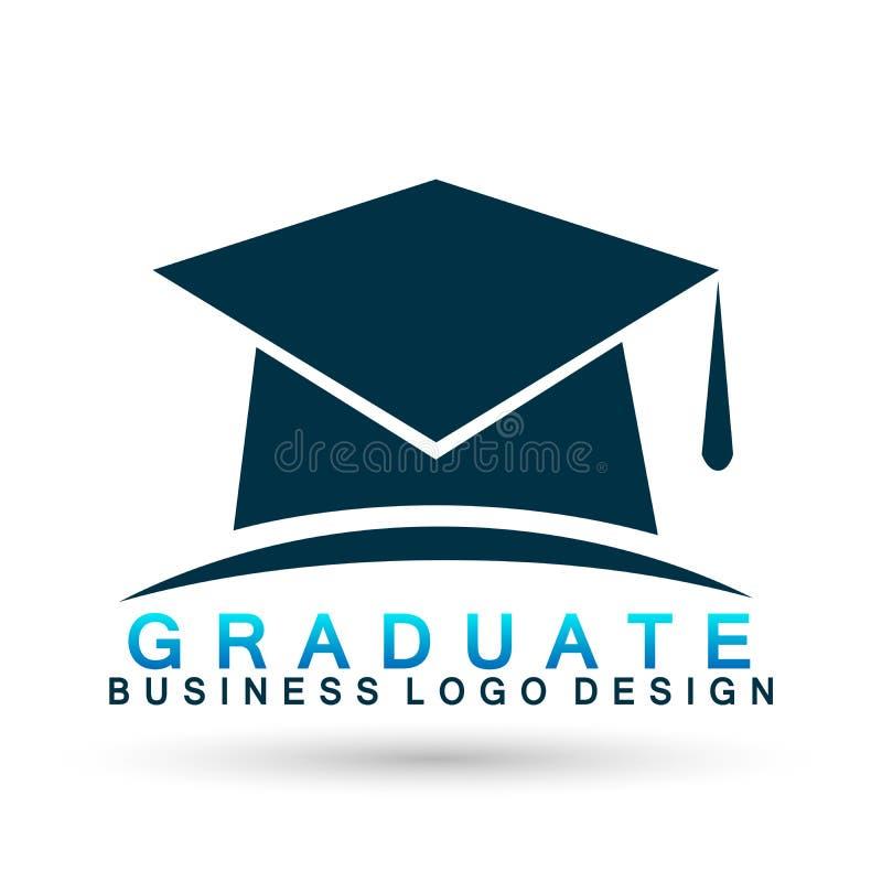 Behaalt van het het instituutsembleem van het hoeden academisch hoger onderwijs van de het pictogram succesvol graduatie van de d royalty-vrije illustratie