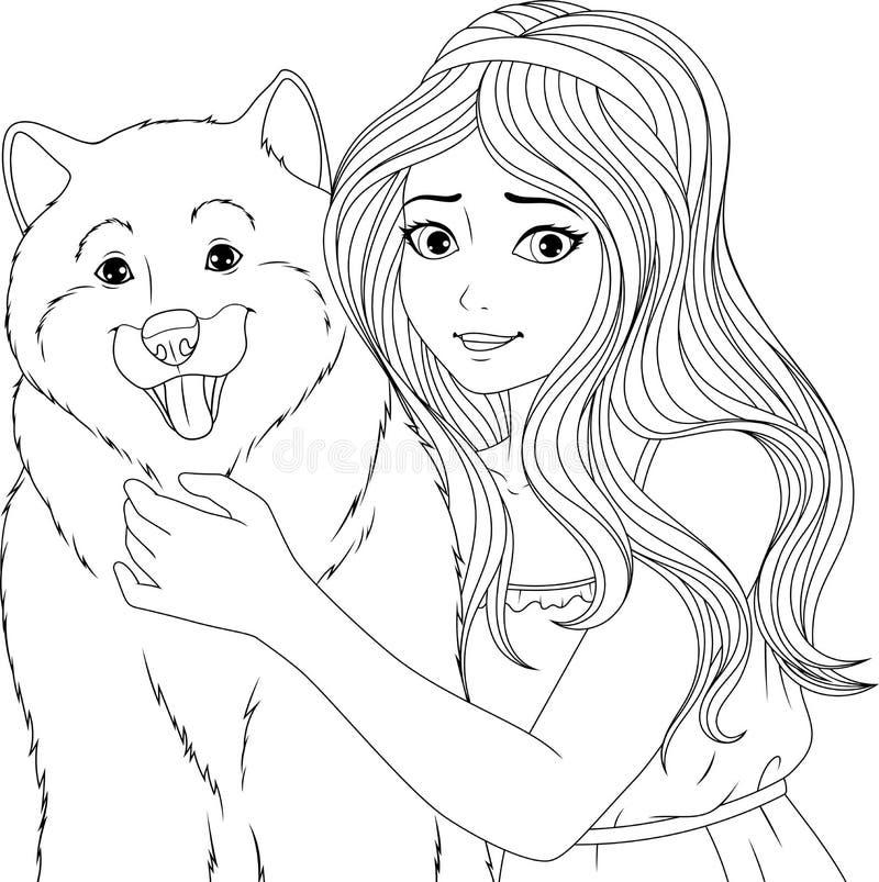 Behaga den unga damen med en hund vektor illustrationer