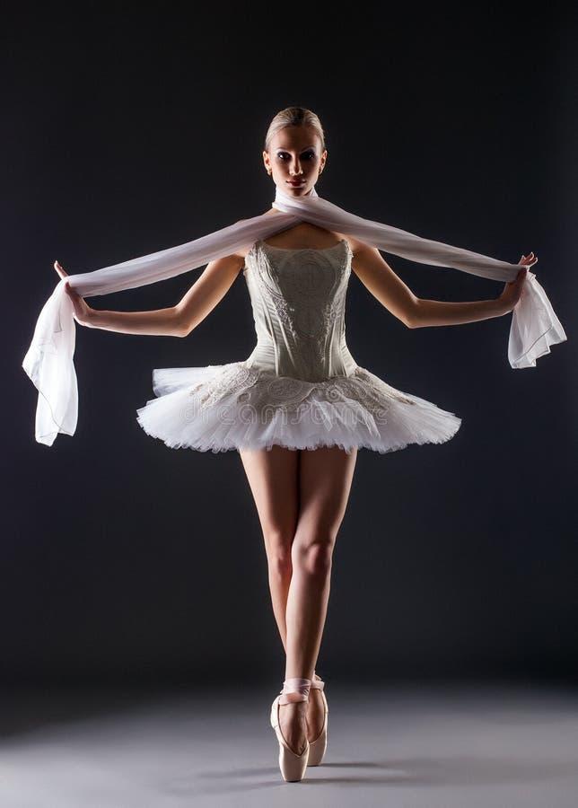 Behagfull ballerinadans som ser kameran arkivfoto