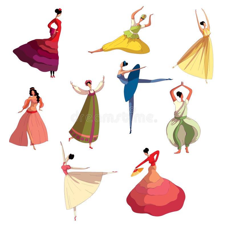 Behagfull flicka i den härliga klänningen som utför dans stock illustrationer
