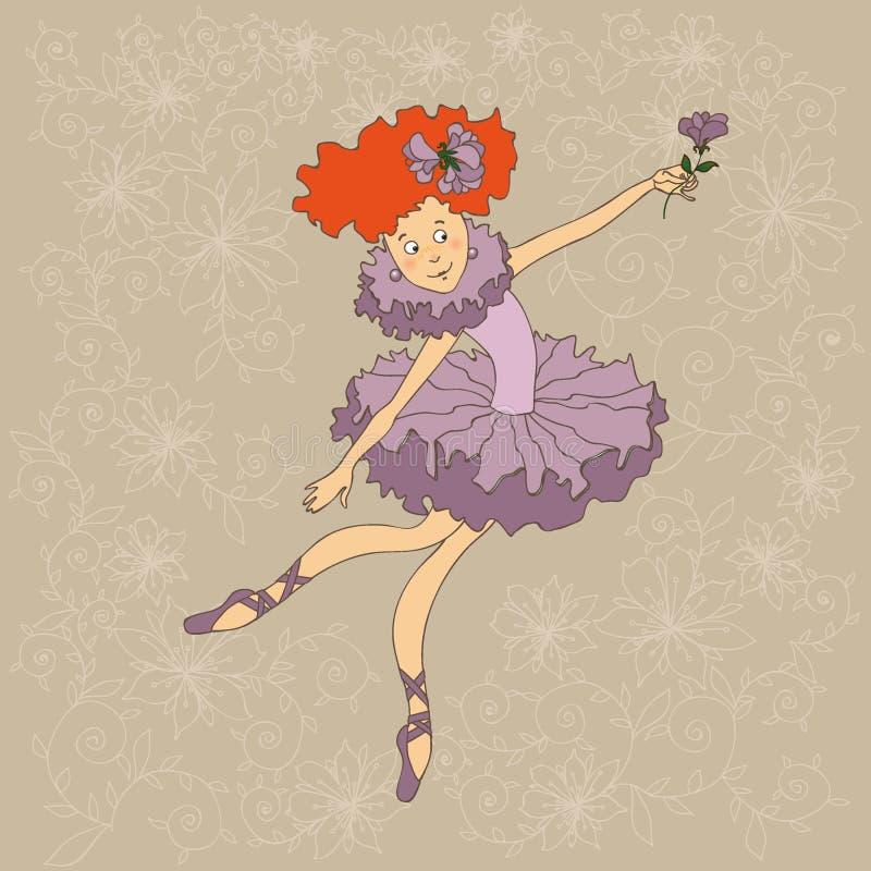 Behagfull och härlig ballerina stock illustrationer