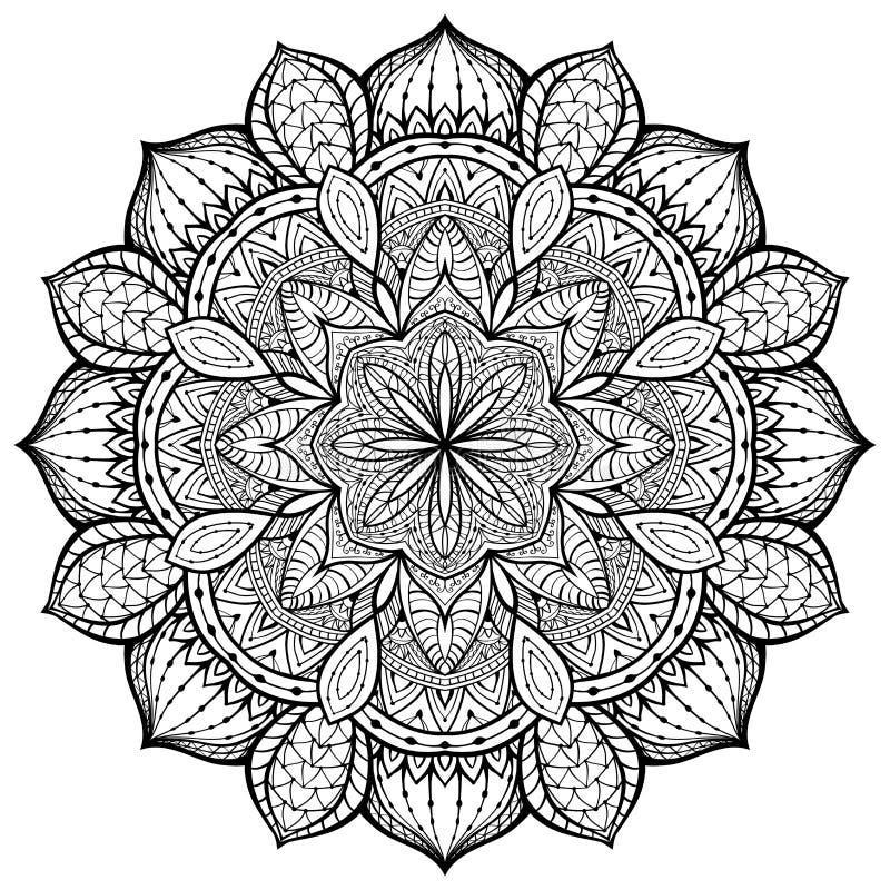 Behagfullt dekorativt, vektor, mandala på en vit bakgrund vektor illustrationer