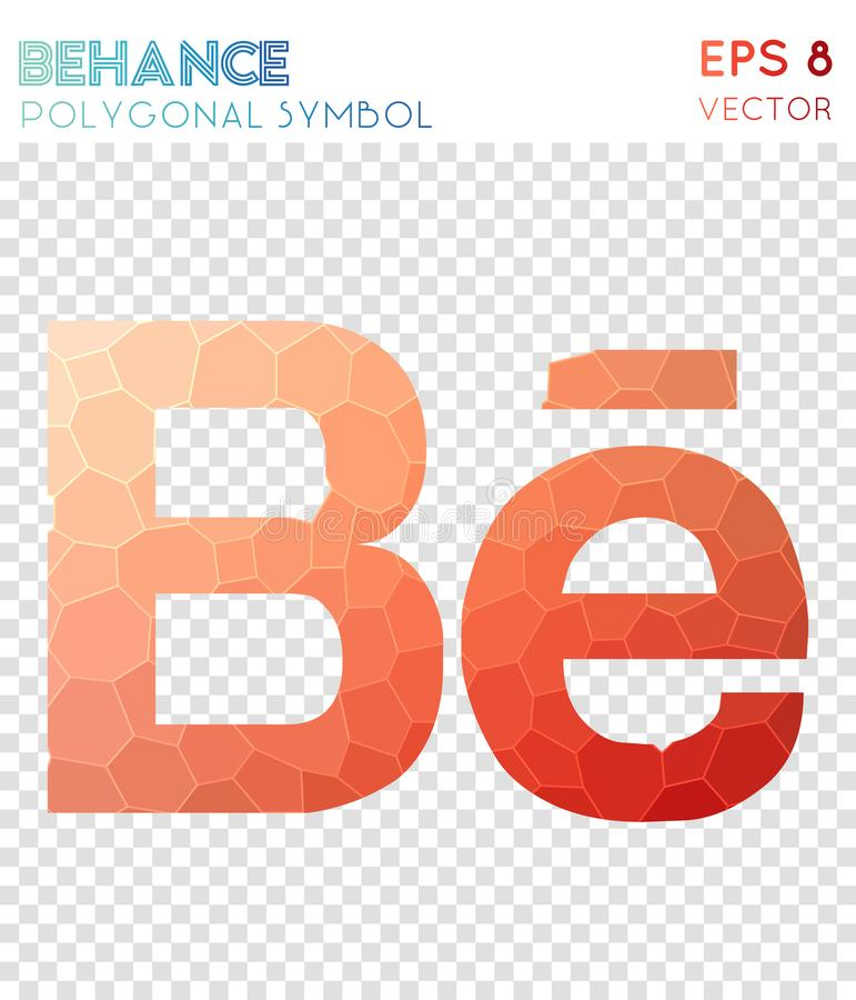 Behance polygonal symbol. Admirable mosaic style symbol. bewitching low poly style. Modern design. behance icon for infographics or presentation royalty free illustration