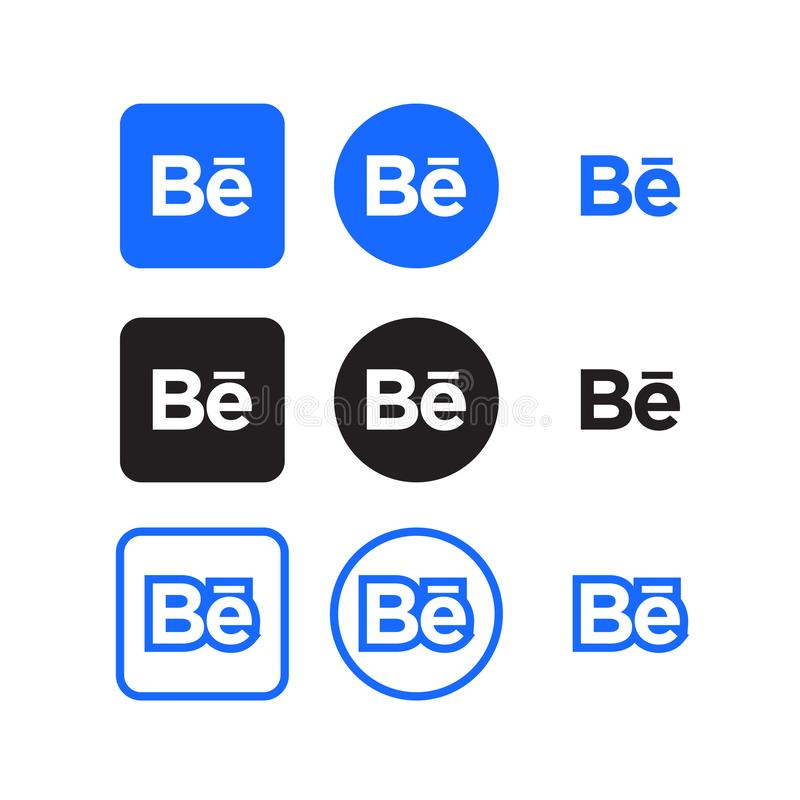 Behance social media icons. Collection of behance social media icons vector royalty free illustration