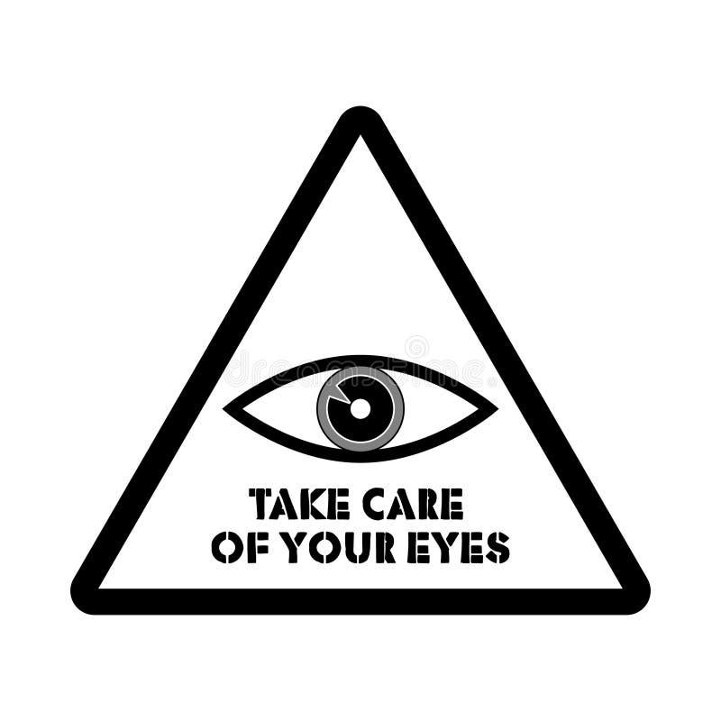 Behandel uw sticker van de ogenaandacht stock illustratie
