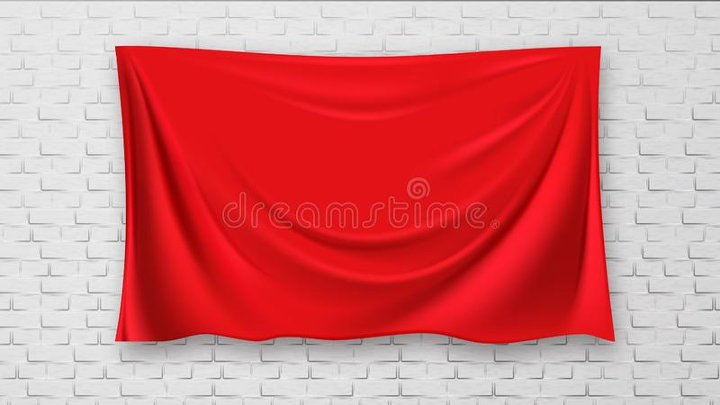 Behandeld Beeld op de Muur van het Baksteen Rode Canvas Vector Als achtergrond vector illustratie