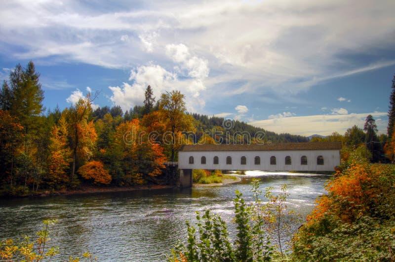 Behandelde Brug over McKenzie Rivier Oregon royalty-vrije stock afbeeldingen