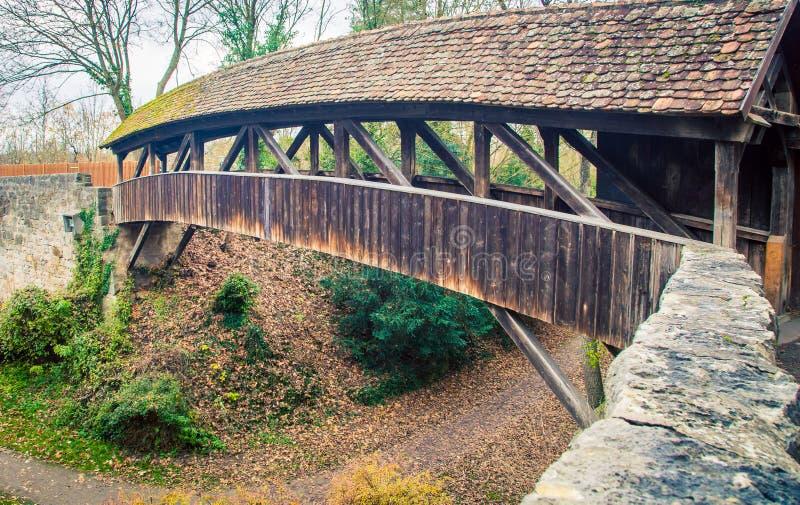 Behandelde brug rothenburg stock afbeelding