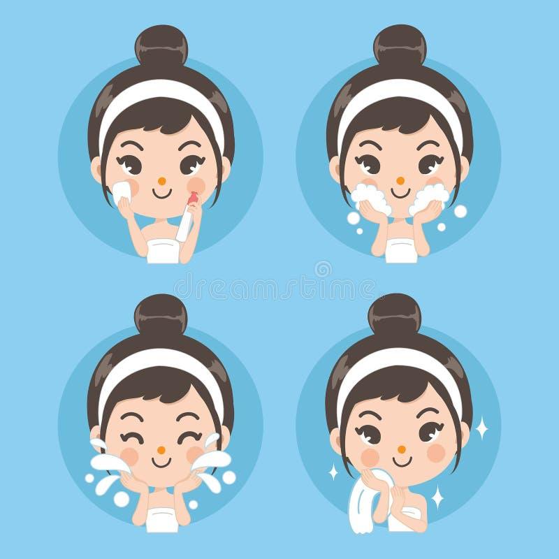Behandeling en schoon gezichtsmeisje vector illustratie