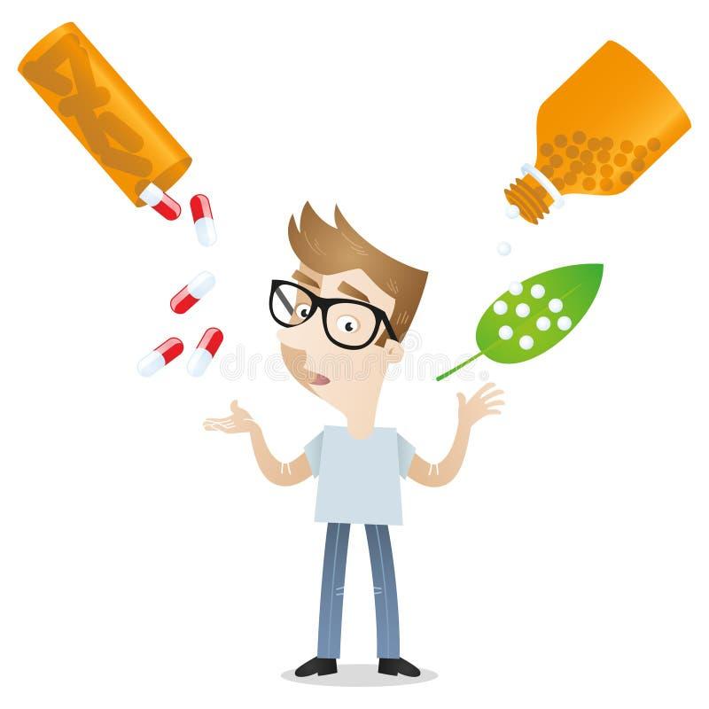 Behandeling van de de geneeskunde de alternatieve homeopathie van de beeldverhaalmens vector illustratie