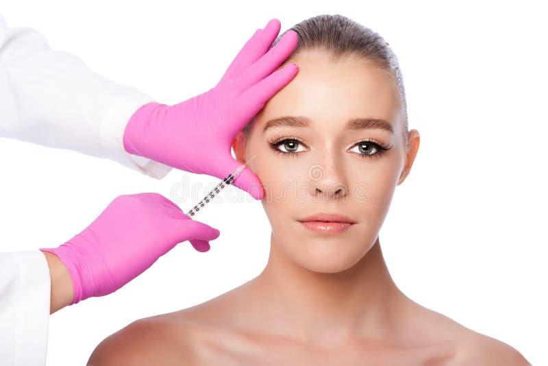 Behandeling van de injectie de gezichtsskincare spa schoonheid stock afbeelding