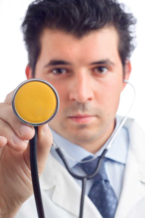 Behandeln Sie das Anhalten eines Stethoskops stockfoto