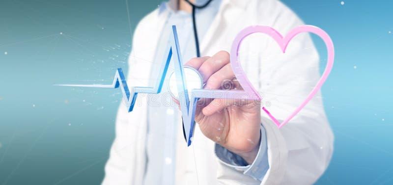 Behandeln Sie das Halten eines 3d, das medizinische Herzkurve überträgt lizenzfreies stockbild