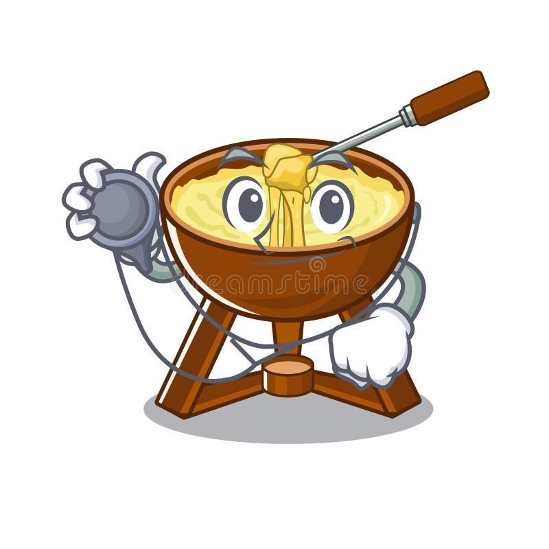 Behandeln Sie das Käsefondue, das im Charakter lokalisiert wird vektor abbildung
