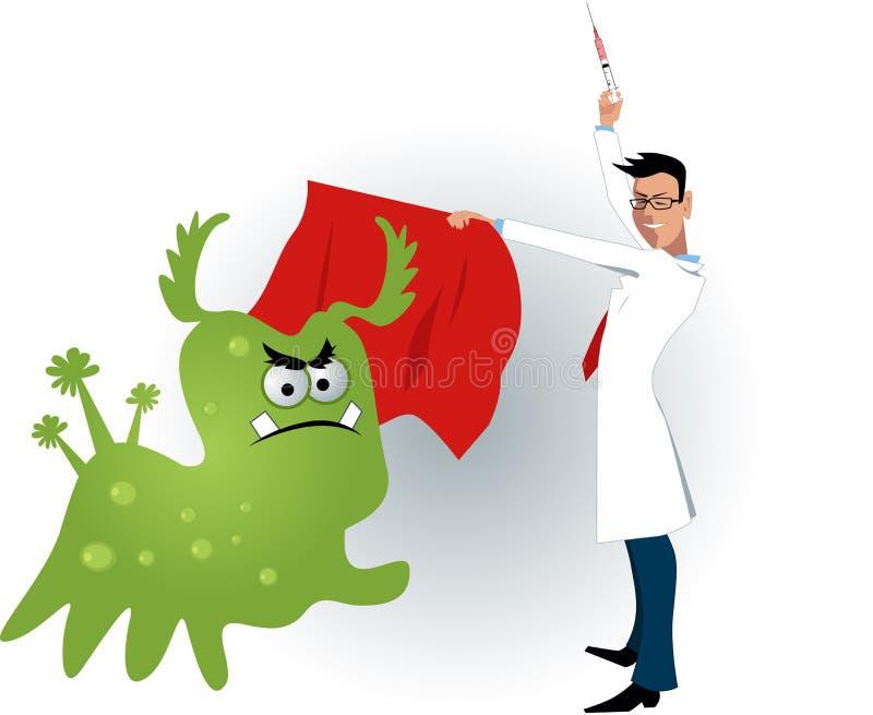 Behandeln Sie das Zähmen eines Virus mit einem Impfschuß vektor abbildung