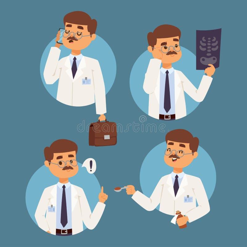 Behandeln Sie Designkrankenhausteamleute-Doktoratillustration des Personals des medizinischen Mannes des Krankenschwestercharakte vektor abbildung
