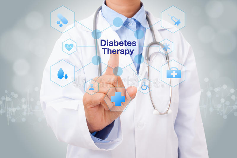 Behandeln Sie Handrührendes Diabetes-Therapiezeichen auf virtuellem Schirm lizenzfreie stockfotos