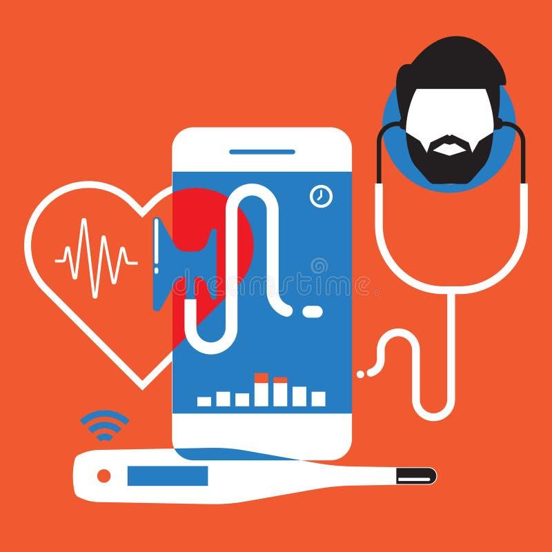 Behandeln Sie online, medizinische APP, Vektor-Konzeptillustration der beweglichen Anwendungen flache vektor abbildung