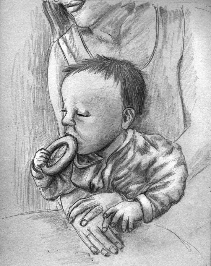 behandla som ett barn äta bakelse royaltyfri illustrationer