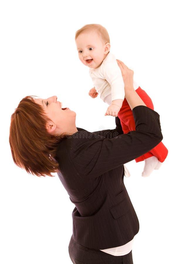 behandla som ett barn affärskvinnan royaltyfria foton