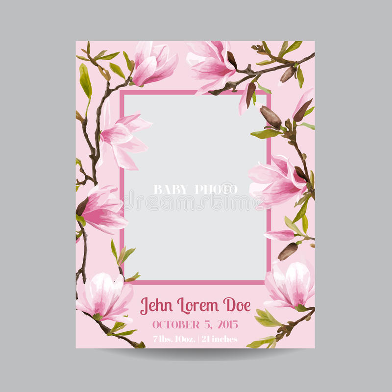 Behandla som ett barn ankomsten eller duscha kortet - med den fotoramen och magnolian fotografering för bildbyråer