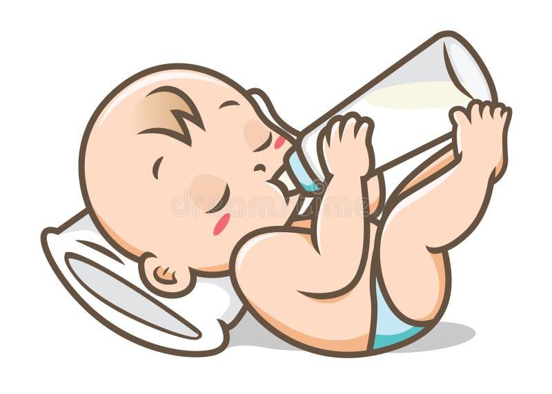 Behandla som ett barn att dricka mjölkar från flaskvektorillustration royaltyfri illustrationer